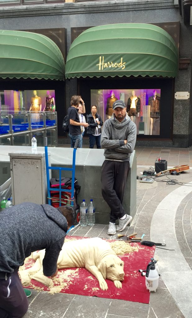Sand sculptor outside Harrods.