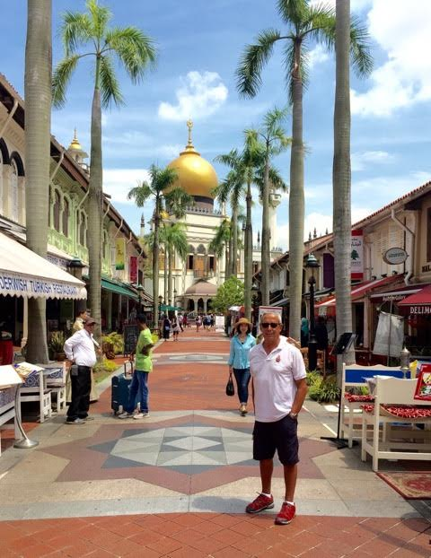 Malay area with the Sultan mosque in the background.