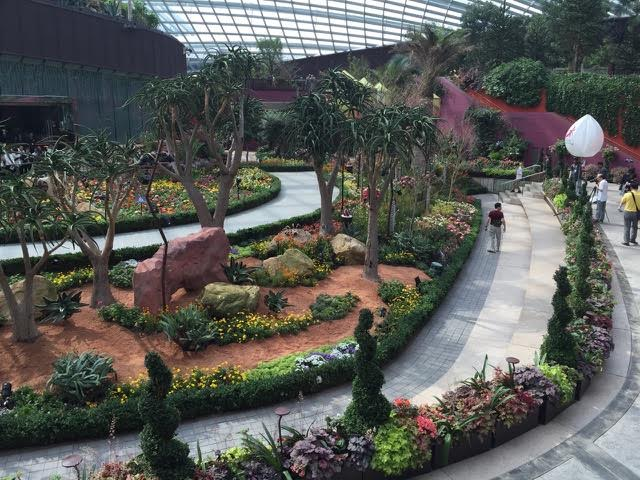 Inside the flower dome.