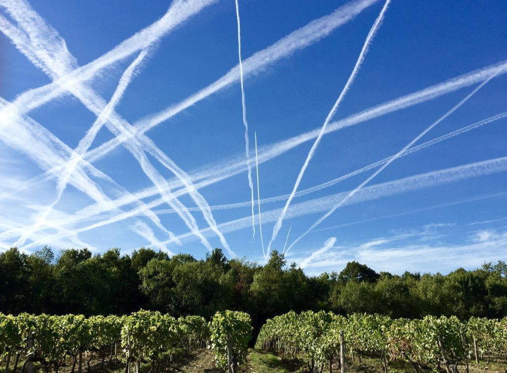 Early morning jetstream trails over Cognac.