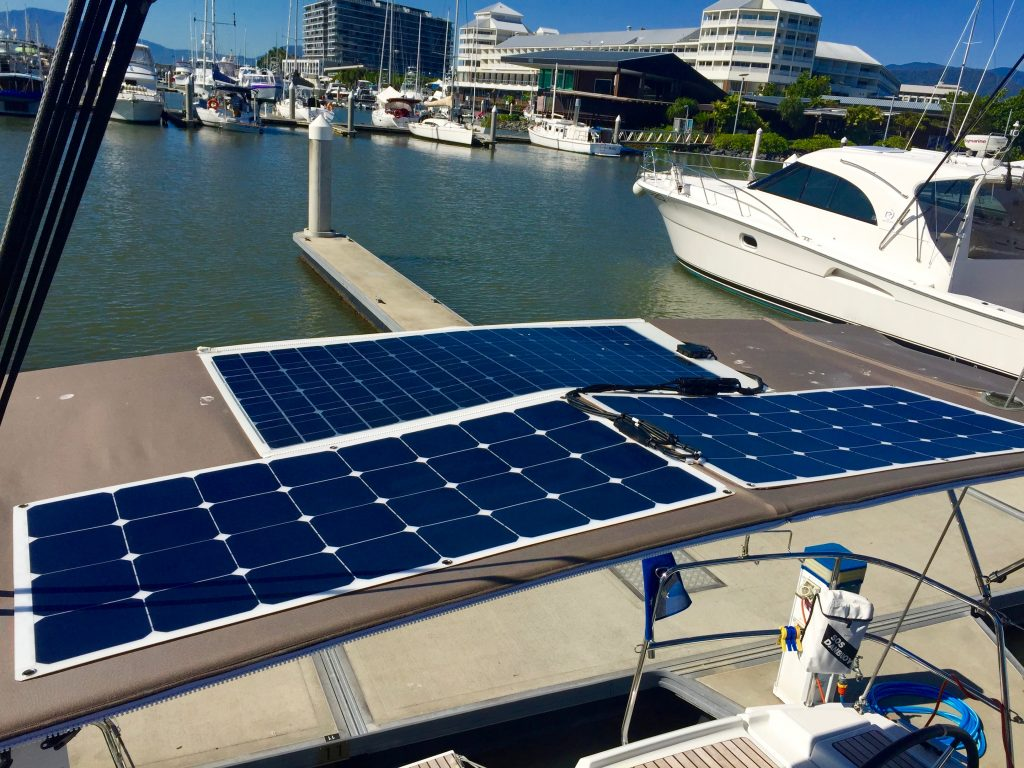 3 solar panels on the bimini.